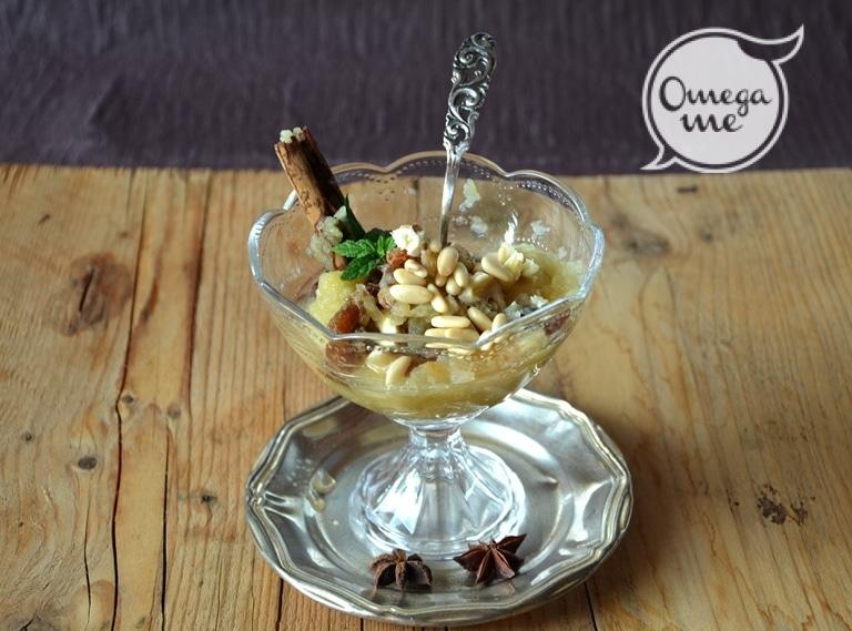 Coppa di castagne e mele in crema