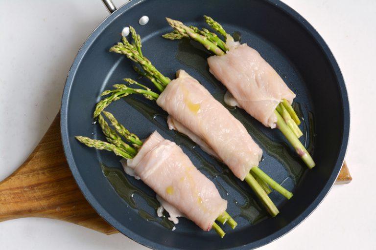 cuocere gli involtini in padella con con po' di Vallé omega3