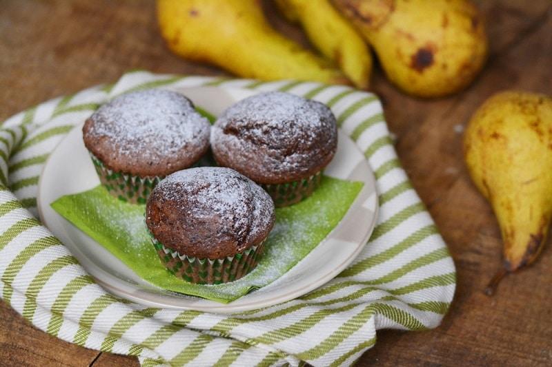 Muffin con cacao e pere