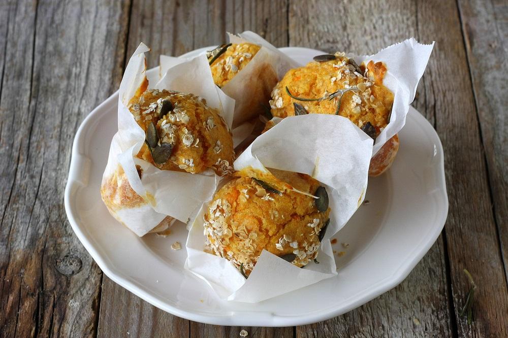 Muffin integrali di zucca al profumo di rosmarino