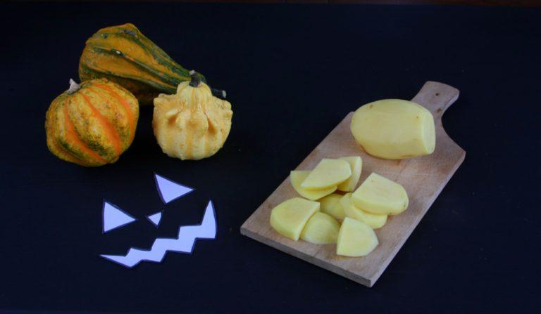 Pelate le patate, tagliatele a pezzetti e cuocetele al vapore.