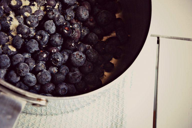 Cuocete i mirtilli con 10 g di zucchero e 50 g di acqua fino a quando l'acqua sarà evaporata, poi frullateli.
