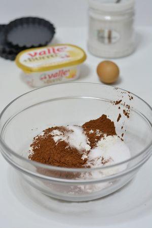 in una ciotola aggiungere allo zucchero, il cacao e la farina