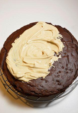 Spalmatela sulla torta ricoprendo bene la superficie ed i lati. A questo punto cospargete con le briciole.