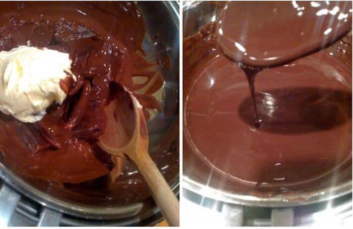 Accendete il forno a 180 gradi. Sciogliete il cioccolato spezzettato a bagnomaria; quando si è sciolto per metà, aggiungete anche la margarina.<br /> Mescolate finché cioccolato e margarina sono completamente sciolti e ben amalgamati.