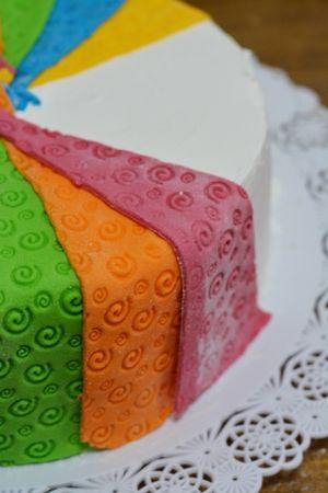 imprimete con un matterello dei decori e sistemateli sulla torta alternando i vari colori