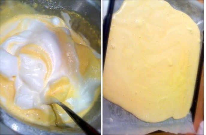 Infornate per 10 minuti. Intanto, preparate un canovaccio pulito, inumiditelo e cospargetelo di zucchero a velo: quando la pasta è cotta (non si colorirà molto) rovesciatela con delicatezza sul canovaccio, staccate la carta forno e arrotolate subito. Lasciate raffreddare la pasta così avvolta (ci vuole almeno un'ora, meglio due). Quando la pasta è fredda, si può procedere alla farcitura e alla decorazione. Fondete il cioccolato e lasciate raffreddare un pochino. Montate a neve la panna freddissima e mescolatela allo zucchero setacciato. Versate 2/3 della panna in una ciotola e tenetene ¼ che mescolerete alla crema di castagne, mentre la quantità più grande andrà mescolata col cioccolato fuso