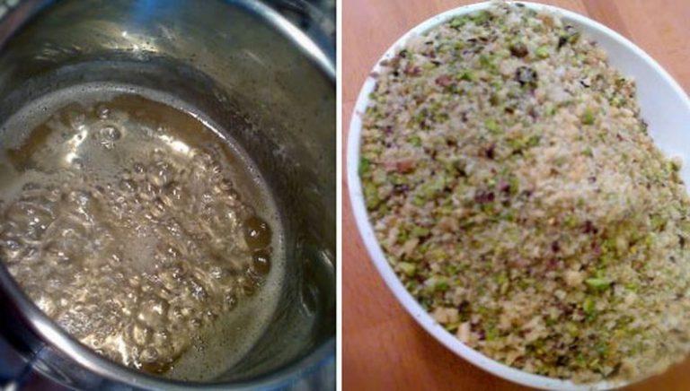 Preparate lo sciroppo con almeno due ore d'anticipo: mescolate l'acqua, il miele, lo zucchero, l'acqua di fiori d'arancio e il succo di limone in un pentolino, e scaldate a fuoco medio. Lasciate sobbollire per 15-20 minuti senza mescolare finché non avrete ottenuto uno sciroppo. Fate raffreddare e mettete in frigo. Tritate i pistacchi, le noci e mandorle nel mixer con lo zucchero: non tritate troppo finemente