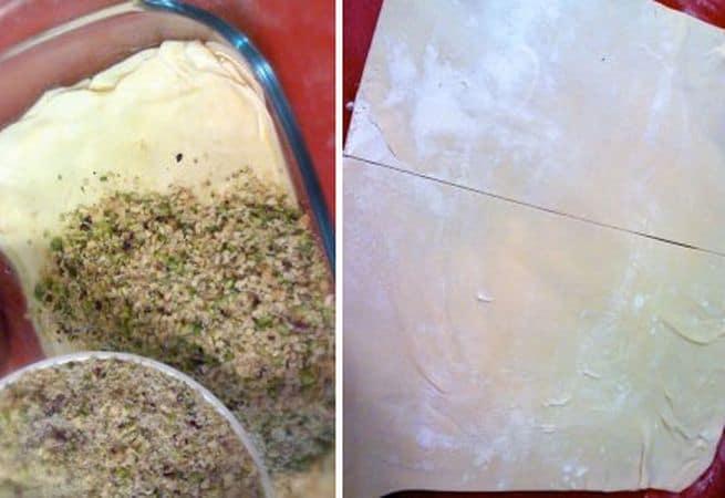 Fate sciogliere la margarina a bagnomaria e spennellate il fondo di una pirofila grande circa 15×25 cm. Adagiate un foglio di pasta sul fondo, poi spennellate con margarina e coprite con un altro foglio. Continuate così con tutti i 4 fogli, poi versate la frutta secca tritata mista a zucchero e livellate