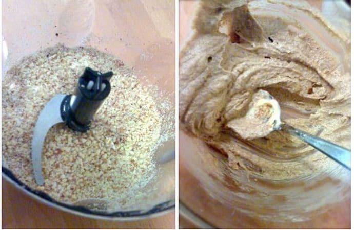 Mescolate lievito e farina; tritate le mandorle nel mixer.<br /> Mescolate lo zucchero con la margarina a temperatura ambiente finché il composto non è soffice e cremoso