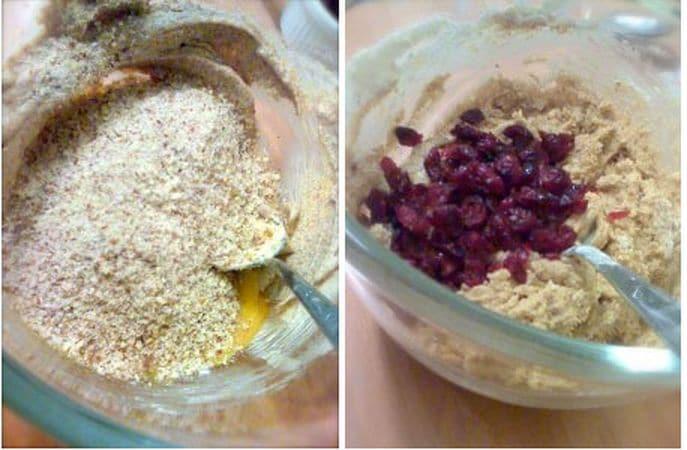 Unite le mandorle, la farina poco alla volta e l'uovo.<br /> Infine unite i mirtilli rossi
