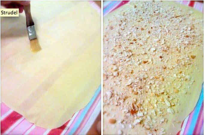 Spennellate la pasta con metà della margarina fusa, poi cospargetela col pane raffermo ridotto in briciole