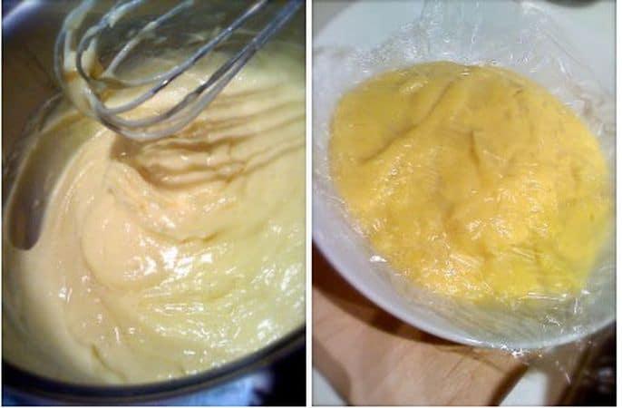 Mentre la pasta riposa in frigo, preparate la crema pasticciera. Scaldate il latte, in cui avrete messo il baccello di vaniglia tagliato a metà, in un pentolino dal fondo pesante. Contemporaneamente, in una ciotola resistente al calore, frullate i tuorli con lo zucchero; quando sono bianchi e spumosi, aggiungete la scorza di limone, l'amido, la farina e frullate ancora. Spremete bene il baccello di vaniglia in modo che rilasci i semini neri, toglietelo e versate il latte a filo nella ciotola dei tuorli frullando a bassa velocità