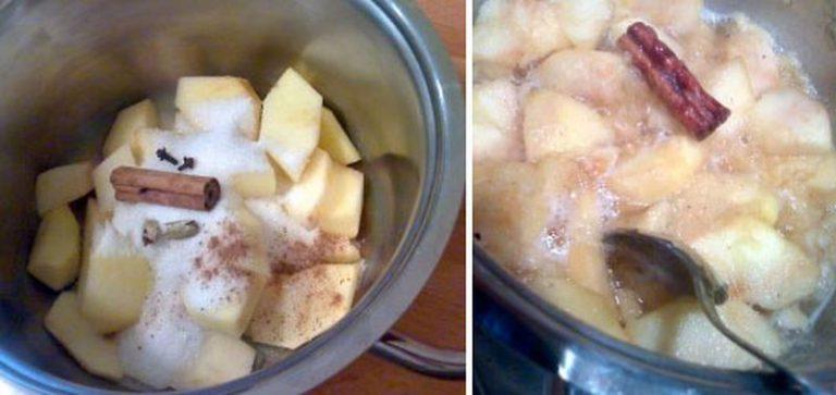 Sbucciate le mele, privatele del torsolo e tagliatele a pezzetti. Mettete in una casseruola dal fondo pesante e unite lo zucchero, la stecca di cannella, una grattata di noce moscata, le capsule di cardamomo schiacchiate e i chiodi di garofano. Potete mettere più spezie se vi piace, ma ricordatevi bene il numero dei chiodi di garofano per poterli poi cercare in seguito, non devono assolutamente rimanere nelle tortine (il sapore ne sarebbe rovinato). Coprite e cuocete a fuoco basso per 15 minuti circa, finché le mele non iniziano a disfarsi, poi lasciate raffreddare