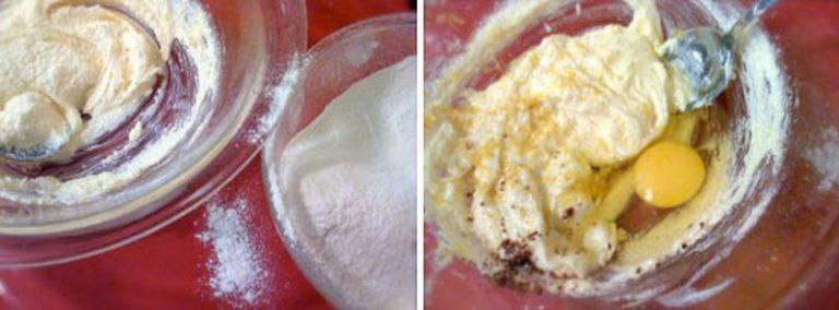 Accendete il forno a 180 gradi. Mescolate la farina col lievito e setacciate. In un'altra ciotola lavorate la margarina e lo zucchero finché il composto è morbido e spumoso, poi aggiungete il rum, l'acqua di fiori d'arancio, la scorza di limone e l'uovo. Mescolate bene