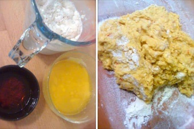 Mettete in infusione lo zafferano in 2-3 cucchiai di acqua bollente almeno 2 ore prima di impastare il pane. Trascorso questo tempo, fate intiepidire il latte, poi mescolatelo col lievito, 2 cucchiai di zucchero e 3 di farina. Coprite e aspettate 15 minuti. Sciogliete la margarina a bagnomaria. Mescolate il latte e il lievito (che nel frattempo sarà fermentato) con l'uovo sbattuto e versate in una ciotola con la farina e lo zucchero, poi aggiungete l'acqua con lo zafferano, la margarina e mescolate. Rovesciate l'impasto sulla spianatoia infarinata e impastate per almeno 5 minuti