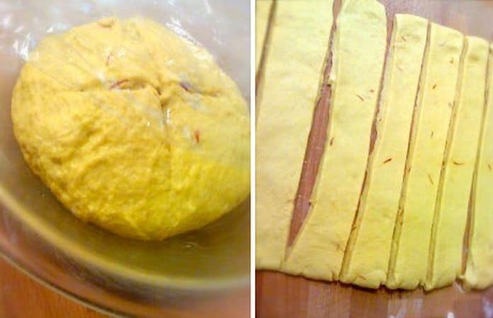 Quando l'impasto è elastico, formate una palla e mettetela in una ciotola larga che avrete unto con margarina. Coprite con cellophane e mettete a lievitare in un luogo riparato per un'ora circa. Trascorsa l'ora, versate l'impasto (che sarà duplicato di volume) sulla spianatoia e stendetelo col mattarello fino a formare un rettangolo di circa 25×40 cm. Tagliate 7 strisce larghe 5 cm circa