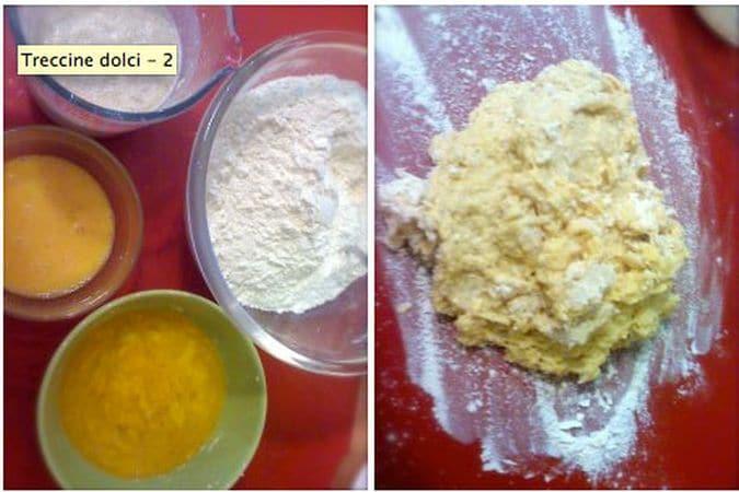 Fate intiepidire il latte e mescolatelo col lievito, 3 cucchiai di farina e 2 di zucchero. Coprite e aspettate 5 minuti, finché il lievito farà schiuma. Fate fondere la margarina e sbattete l'uovo. Unite la farina e lo zucchero in una ciotola, poi aggiungete il latte col lievito, la margarina, l'uovo e mescolate. Versate sulla spianatoia infarinate e impastate per 5 minuti almeno