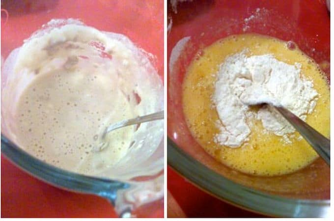 Cominciate a preparare la pasta brioche con un giorno di anticipo. Pesate gli ingredienti, fate intiepidire il latte, mescolatelo al lievito con un cucchiaio di zucchero e tre cucchiai di farina (prendeteli dagli ingredienti pesati) e coprite. Aspettate 15 minuti  finché il composto inizia a gonfiarsi. In una ciotola capiente, sbattete le uova e i tuorli con lo zucchero, poi aggiungete la farina poco a poco