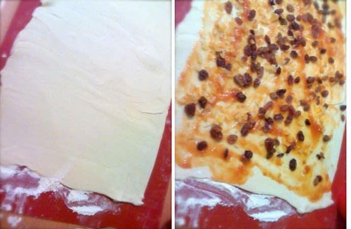 Mettetela da parte con l'aiuto di un foglio di carta forno. Prendete i due rotoli di pasta sfoglia e ripiegate i bordi laterali verso l'interno e spianate col mattarello in modo da dare una forma rettangolare