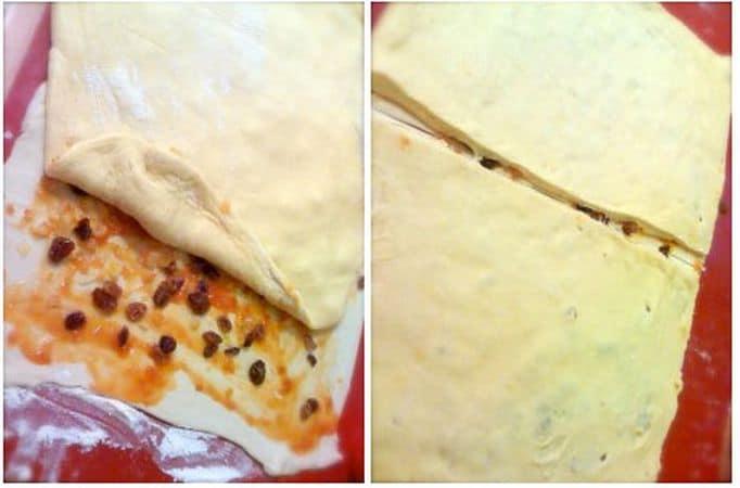 Avvicinate i due fogli di pasta sfoglia e ripassate col mattarello per unirli e allargate la sfoglia fino a raggiungere la grandezza della pasta brioche (piano sempre infarinato, è importante). Scolate e strizzate l'uvetta, stendete un velo di marmellata sulla pasta sfoglia e cospargete con l'uvetta e i canditi