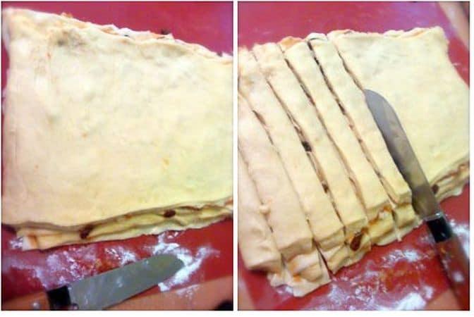 Sovrapponete i due fogli di pasta, fate combaciare bene e tagliate via gli eccessi di pasta ai bordi; tagliate a metà il rettangolo di pasta. Sovrapponete una metà all'altra e fate combaciare bene, poi tagliate tante striscioline larghe 2 cm circa. Prendete le striscioline, torcetele (come per strizzare un panno) e mettetele sulla placca rivestita di carta forno. Fate lievitare ancora per mezz'ora circa.