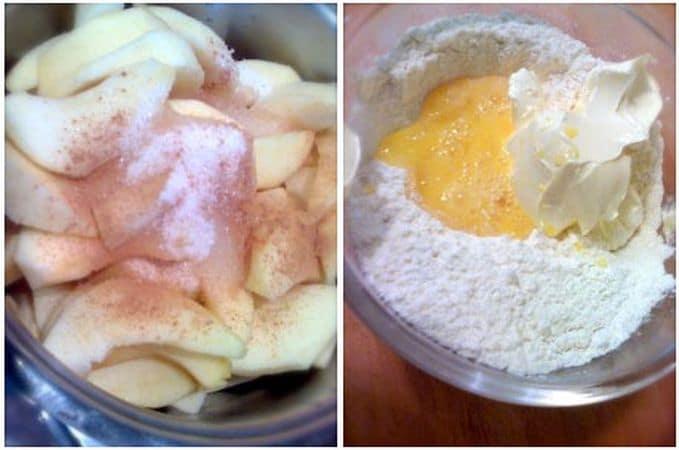 Sbucciate le mele, mondatele del torsolo e tagliatele a fettine. Mettete in una pentola dal fondo pesante, unite lo zucchero e la cannella e cuocete a fuoco medio per 10 minuti (devono essere cotte ma non disfarsi). Fate raffreddare e mettete ad asciugare in un piatto largo su cui avrete messo della carta cucina. Quando le mele sono fredde, accendete il forno a 200 gradi. In una ciotola, unite la farina e il lievito, mescolate, poi unite anche la margarina ammorbidita e l'uovo leggermente sbattuto. Mescolate un poco, riversate sul piano di lavoro  e impastate fino ad ottenere un impasto omogeneo