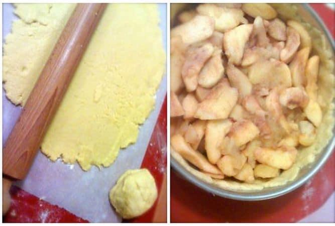 """Prendete un foglio di carta forno e stendete 2/3 dell'impasto in forma circolare; rivestite una tortiera a cerchio apribile con questo disco di pasta, """"rattoppando"""" eventuali strappi con un pizzicotto (non spaventatevi se l'impasto è molle, è normale). Riempite con le mele cotte, poi stendete il rimanente impasto e coprite la torta cercando di far combaciare le due parti pizzicandole con le dita"""