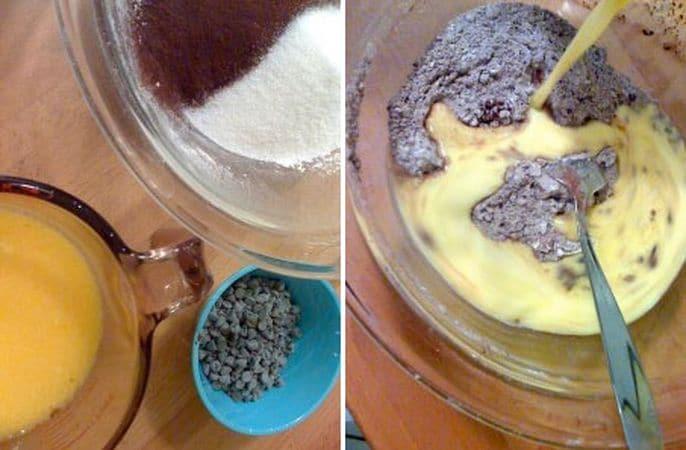 Accendete il forno a 200 gradi; setacciate la farina, il lievito e il cacao in una ciotola, poi aggiungete anche lo zucchero e mescolate; fate sciogliere la margarina a bagnomaria, poi mescolatela al latte e alle uova (creerete così due gruppi di ingredienti, uno liquido e uno solido).Versate gli ingredienti liquidi nella ciotola di quelli solidi e mescolate senza troppa precisione (devono rimanere dei grumi, solo così riusciranno i muffins!)