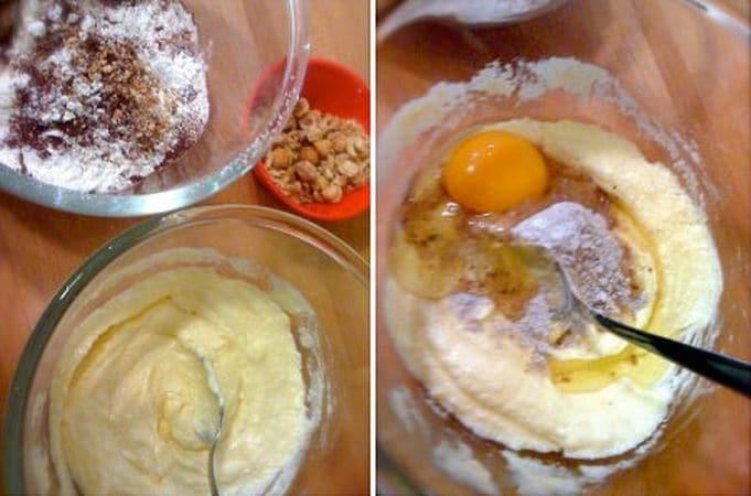 Accendete il forno a 180 gradi: Tritate metà delle nocciole grossolanamente, l'altra metà più fini. Unite la farina, il lievito e il cacao e setacciate, poi unite anche le nocciole tritate fini e mescolate; mettete da parte. Lavorate la margarina con 130 gr di zucchero (tenete 20 gr da parte per la decorazione) finché è morbida e cremosa. Unite un uovo alla volta accompagnandolo con un cucchiaio di farina mista a cacao e nocciole e amalgamate, poi unite tutta la farina poco a poco e il latte
