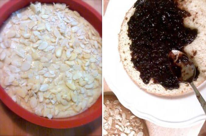 Versate in una tortiera unta (o una di silicone), cospargete con le mandorle a lamelle e infornate per 40-45 minuti; sfornate e lasciate raffreddare prima di togliere dallo stampo. Tagliate la torta a metà e farcite con la marmellata di ciliegie