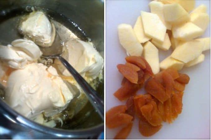 Accendete il forno a 180 gradi. In un pentolino, fate scaldare il miele finché diventa liquido, poi spegnete il fuoco, aggiungete la margarina e mescolate; mettete da parte