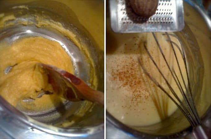 """Accendete il forno a 180 gradi. Preparate una besciamella dolce: fate sciogliere la margarina in un padellino, poi aggiungete la farina e formate una """"pappina"""""""