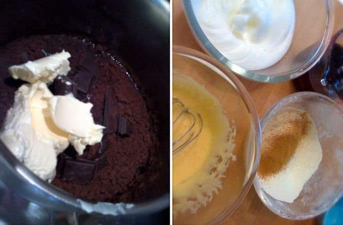 Tagliate a metà le prugne e mettetele in infusione nell'Armagnac per un'ora. Accendete il forno a 180 gradi. Spezzettate il cioccolato e mettetelo in un pentolino dal fondo pesante con l'acqua. Il cacao e la margarina e fate sciogliere a fuoco dolce; mettete da parte. Dividete le uova in ciotole diverse; montate a neve gli albumi da una parte e frullate i tuorli con lo zucchero dall'altra. Ancora a parte, unite la farina a cannella e lievito e setacciate