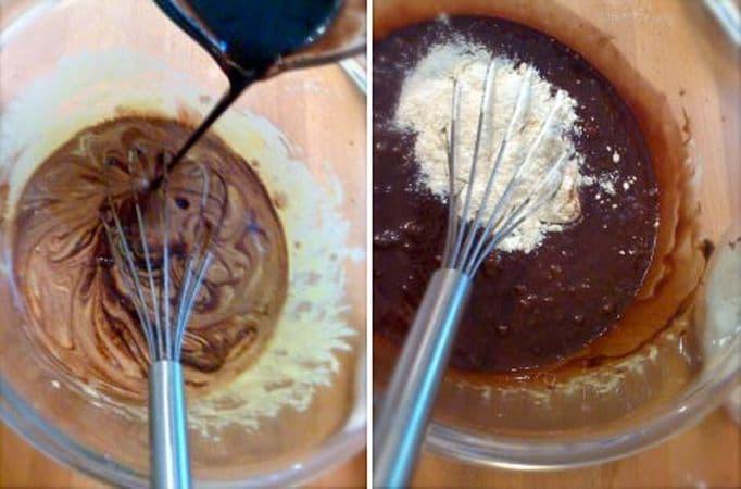 Unite il cioccolato e la margarina fusa ai tuorli e mescolate bene con la frusta, poi unite la farina poca alla volta, sempre mescolando