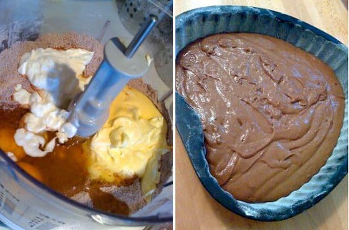 E' importante che, prima di cominciare, tutti gli ingredienti siano a temperatura ambiente. Accendete il forno a 180 gradi. Ungete e infarinate una tortiera a forma di cuore. Mettete la farina, il lievito, lo zucchero e il cacao nel mixer; azionate un attimo affinché il tutto si mescoli bene, poi unite le uova, la margarina, la vaniglia e lo yogurt e azionate ancora finché avrete un impasto morbido e uniforme. Togliete la lama, mescolate con una spatola e versate nella tortiera. Infornate per 35 minuti