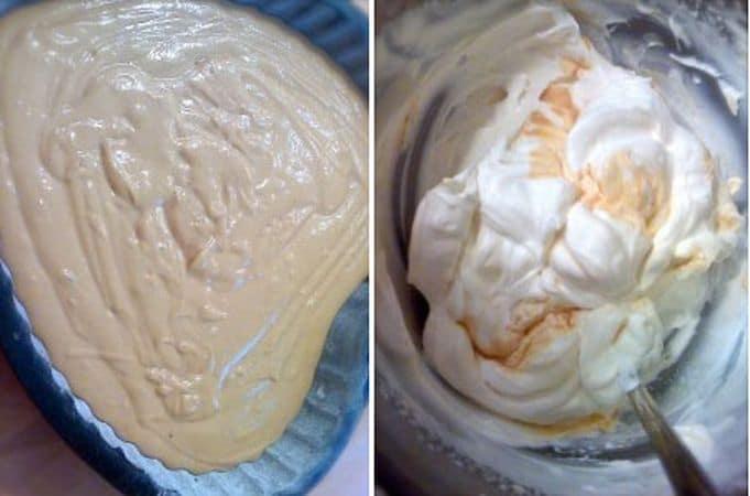 Versate in uno stampo a forma di cuore, unto e infarinato, e infornate per 45 minuti. Lasciate raffreddare bene, poi tagliate la torta a metà. Montate la panna freddissima e, appena inizia a solidificarsi, unite poco a poco lo zucchero a velo setacciato. Infine, unite 2-3 cucchiai di crema al whisky e mescolate con delicatezza