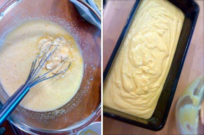 Sbattete le uova con lo zucchero usando la frusta, poi unite la margarina sciolta, lo yogurt col limone e mescolate bene. Infine, incorporate le farine poco a poco. Se l'impasto è troppo duro aggiungete 2-3 cucchiai di latte. Versate in uno stampo da plumcake ben unto e infarinato (mi raccomando: la farina gialla tende ad attaccare molto). Infornate per 45-50 minuti