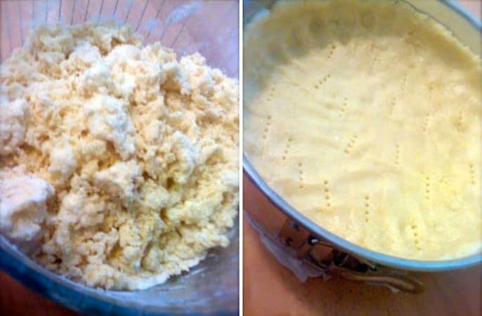 Preparate la base: mescolate la farina, il lievito e lo zucchero, poi unite la margarina e l'uovo e lavorate velocemente con le mani finché l'impasto è omogeneo. Rivestite una tortiera a cerchio apribile con carta forno e ungete i bordi, poi versate l'impasto nel centro e schiacciatelo con le dita  fino a ricoprire uniformemente in fondo e formare un bordo di circa 3 cm. Mettete in frigo per almeno un'ora (meglio due)