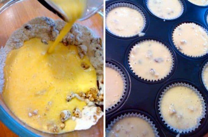 Versate il latte con le uova e la margarina sciolta nella ciotola della farina e mescolate brevemente senza lavorare troppo l'impasto