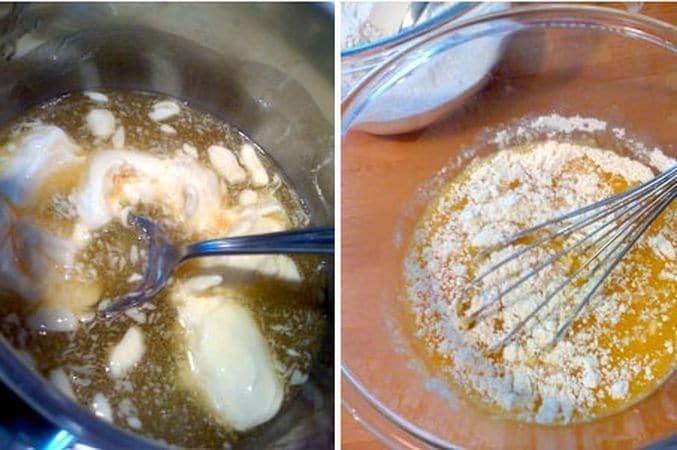 Accendete il forno a 180 gradi. Mettete il miele e la margarina in un pentolino e riscaldate a fuoco dolce finché il tutto è liquido. Travasate in un recipiente freddo e lasciate raffreddare 10 minuti. Nel frattempo, unite la farina e il lievito e setacciate due volte, poi mettete da parte. In una ciotola capiente, sbattete le uova col composto di miele e margarina, poi unite la farina in tre riprese, sempre mescolando con la frusta tra una e l'altra