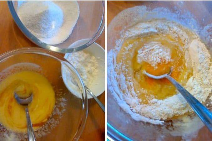 Accendete il forno a 200 gradi.  Foderate uno stampo da 12 muffin con pirottini di carta.  Mescolate bene farina e lievito e setacciate per arieggiare. Schiacciate la ricotta fino a ridurla in poltiglia. A parte, lavorate la margarina con lo zucchero e, quando è morbidissima, aggiungete le uova e la farina in più riprese, mescolando bene tra un'aggiunta e l'altra.