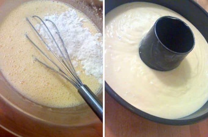 Se i frutti non sono trattati, aggiungete anche la scorza di una clementina. Mescolate la farina e il lievito e setacciate, poi incorporatela nell'impasto poco a poco.<br /> Versate in una tortiera a ciambella e infornate per 45 minuti