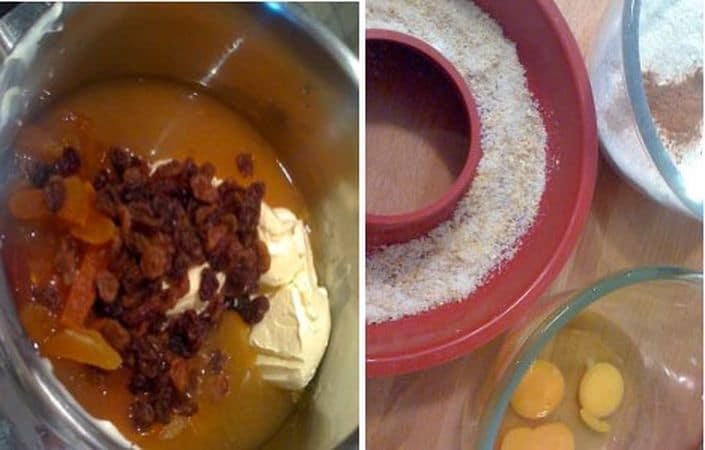 Versate il succo delle arance in un pentolino dal fondo spesso e unite la margarina e la frutta secca. Scaldate a fuoco medio e, quando la margarina si è sciolta, spegnete il fuoco e lasciate raffreddare 15 minuti.