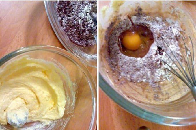 Accendete il forno a 180 gradi. Mescolate la farina, il cacao e il lievito e setacciate due volte; mettete da parte. Lavorate la margarina e lo zucchero finché il tutto è cremoso. Aggiungete un uovo alla volta facendo precedere ogni aggiunta da un cucchiaio di farina mista a lievito e cacao e amalgamate bene ogni volta. Aggiungete il resto della farina a 2-3 cucchiai per volta, mescolando bene; a metà aggiungete il latte