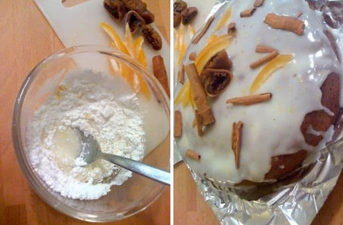 Quando il dolce è freddo, preparate la glassa mescolando lo zucchero a velo con la scorza e il succo di limone più 2 cucchiai di acqua tiepida. Versate sulla torta e lasciate colare ai lati in modo irregolare. Decorate con la frutta essiccata, l'arancia candita e la cannella prima che la glassa si secchi