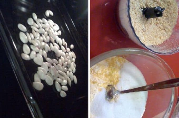Allargate le mandorle sulla leccarda e infornatele per pochi minuti (mentre il forno si sta ancora scaldando) finchè si asciugano, ma attenti a non farle colorire. Fate raffreddare un po' le mandorle e tritatele grossolanamente nel mixer con un cucchiaio di zucchero. Mescolate le farine, le mandorle, la scorza  e lo zucchero in una terrina.