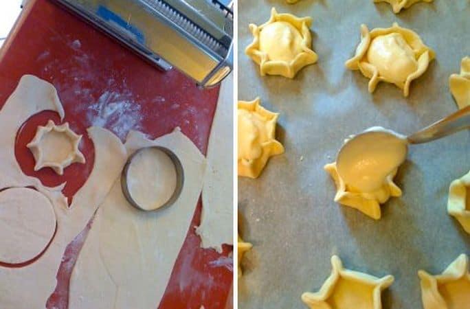Trascorso il tempo di riposo, accendete il forno a 180 gradi. Preparate la sfogliatrice (se non l'avete dovrete stendere la pasta col mattarello) e stendete la pasta piuttosto sottile ma non troppo (io sono arrivata allo spessore n.3), poi ricavate tanti dischi con un coppapasta (questo è 8 cm di diametro). Pizzicate il bordo in più punti in modo da ricavare un cestino, poi adagiate sulla placca rivestita di carta forno. Versate un cucchiaio colmo di composto alla ricotta in ogni canestrello, poi infornate per 30-35 minuti