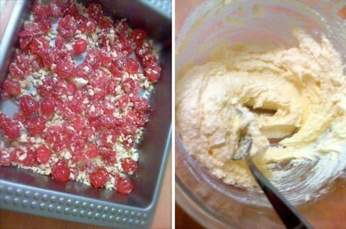 Accendete il forno a 170 gradi. Tritate grossolanamente le ciliegie e le mandorle, versatele in una tortiera quadrata (circa 20x20cm) precedentemente unta e coprite il fondo in modo uniforme. In una ciotola, lavorate la margarina con lo zucchero finché e cremosa.