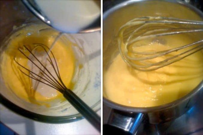 Preparate la crema: scaldate la panna in un pentolino dal fondo pesante senza farla bollire, poi aggiungete la vaniglia e spegnete il fuoco. Nel frattempo, sbattete i tuorli con lo zucchero finché sono chiari e spumosi; aggiungete l'amido e la farina e mescolate con cura. Versate la panna a filo mescolando continuamente, poi versate tutto nel pentolino e riaccendete il fuoco; mescolate continuamente con una frusta finché la crema è densa. Travasate la crema in un contenitore freddo e coprite con un foglio di cellophane a contatto, in modo da non permettere la formazione della pellicina in superficie. Lasciate raffreddare